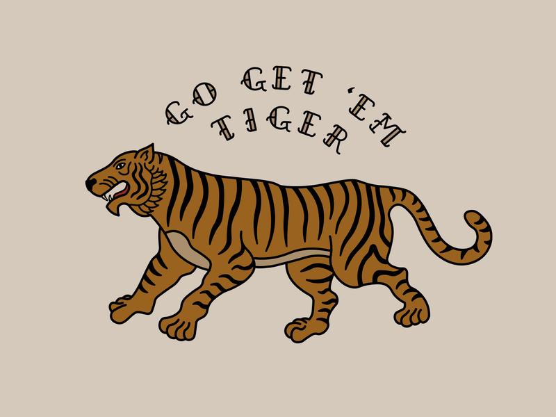 Go Get 'Em, Tiger! design illustrator lineart