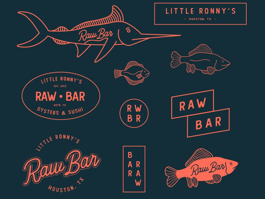 Raw Bar Branding lineart icon logo illustration design illustrator branding brand design