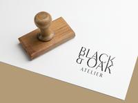 Black & Oak Atelier   Mark stamp typography mark branding brand identity brand