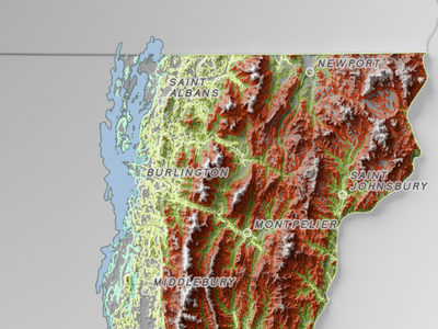 Shaded and thematic relief map shadow topography map
