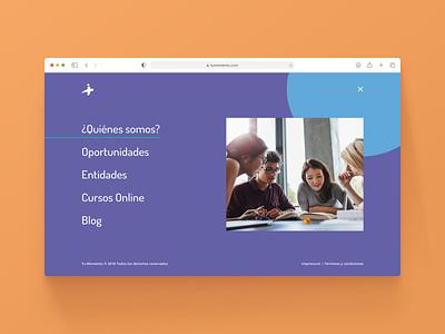 Learning platform ux ui learning fullscreen menu
