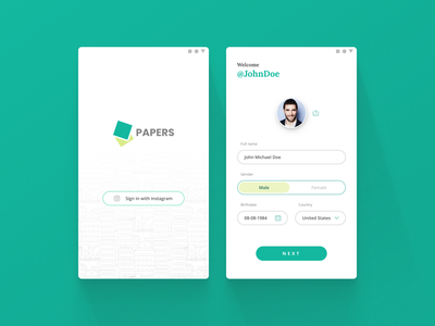 Social media sign up android ux ui sign up mobile app