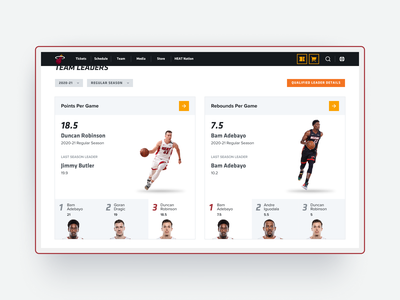 Team Leaders page nba sports basketball ui web design redesign interface website