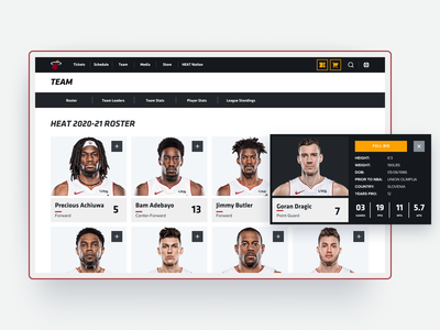 Roster page nba sports basketball interface web design ui redesign website