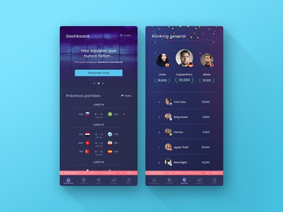 Clash Of Fans dark theme sports world cup soccer ux ui ios android