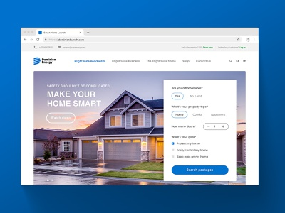 Smart Home Landing Page above the fold smart home landing page ux ui