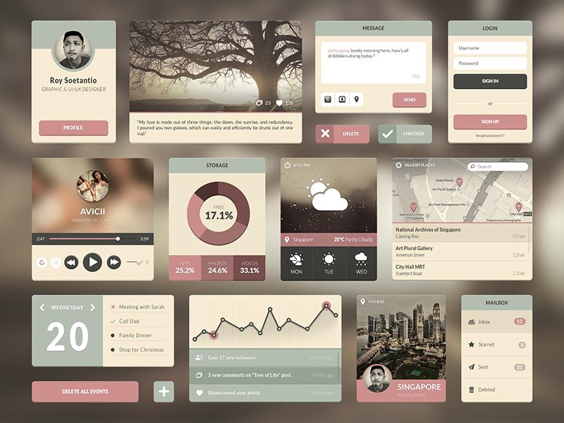 Momonosuke UI ui kit user interface ui ux button navigation flat profile weather minimalist music player map