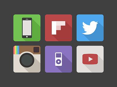 Long Shadow long shadow icon app icon flat instagram youtube twitter flipboard ipod phone application