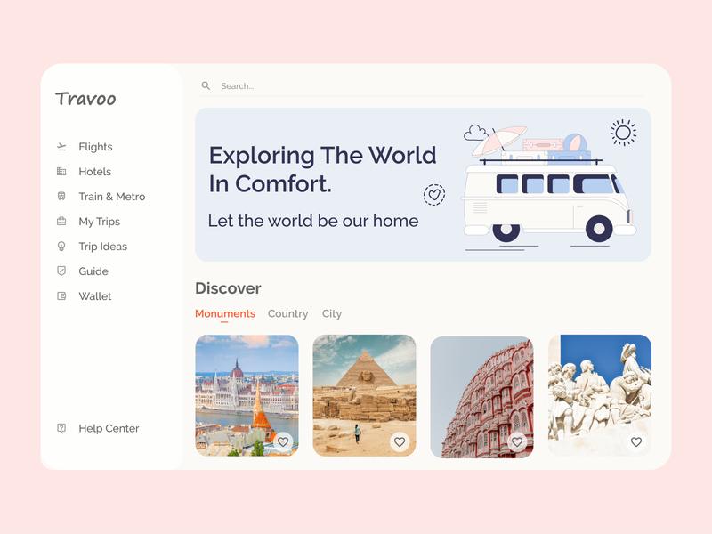 Travelling Web Application web design xd illustrator webapplication webapp design illustration ux app ui minimal design