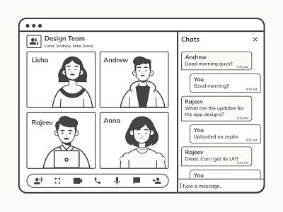 Monochrome Chat application black and white webdesign video app videochat videocall chat illustration illustrator xd webapp ux ui minimal design