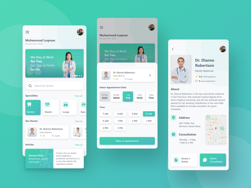 Doctor Consultation App homepage green health app health profile page consultation doctor ux ui minimal design app