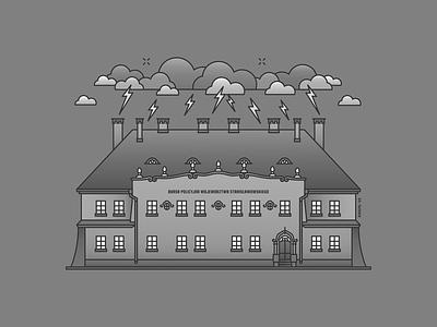Old Grimy Austro-Hungarian Tenement tenement thunder grimy clouds storm classicism chimney historical highschool vintage monocrest ivano-frankivsk outline linecraft monoline building architecture illustration ukraine