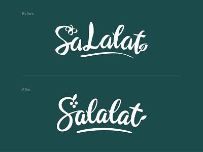 Salalat Salad Bar Logotype Refresh wordmark salat swoosh berries leaf grapes lettering calligraphy food restaurant bar redesign refresh script brushpen script logotype logo