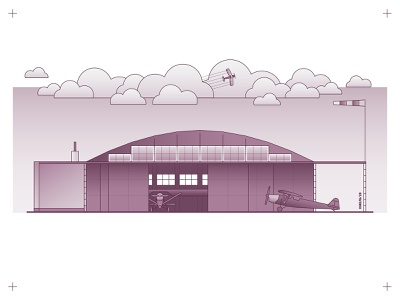 LOPP Pilot School Hangar illustration architecture building monoline linecraft outline monocrest flight airplanes aeroplane airport airplane windsock ukraine ivano-frankivsk poland pilot school hangar biplane clouds