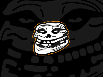 The Misfits + Troll Face skull orange hardcore music punk rock illustration fiend trollface memes black and white logo logo band logo crimson ghost misfits