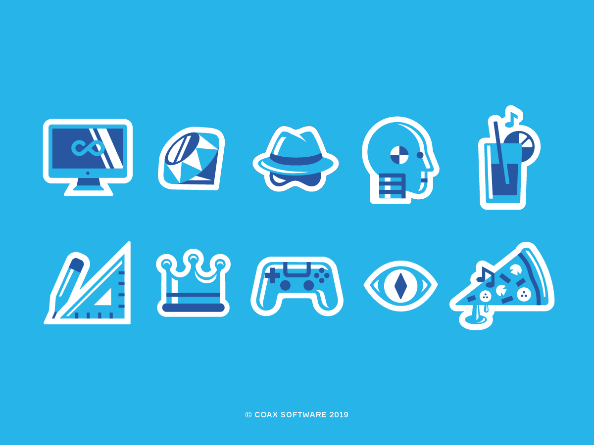 Sticker Pack for COAX Software coaxsoftware pizza python snake gamepad crown designer design drink dummy hat ruby imac flat icons solid icons icon pack icon set icon design stickers sticker pack