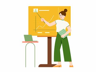 Analyze report startup company meeting chart data analyze career office job business woman girl character illustration