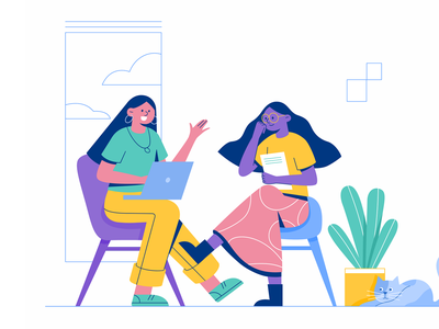 Interview communicate talk friend company vector flat chat interview office woman business girl character illustration