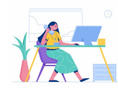 Office work laptop vector flat hello talk chat hr company office woman business girl character illustration