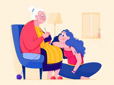 Talking To Grandma chat talk warm beauty lovely family house woman girl affinity designer uran legacy grandmother grandma illustration