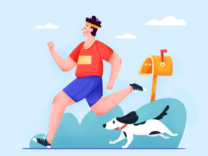 Get Moving play exercise fresh park jogging outdoor mailbox health healthy run sport moving man animal dog character boy uran illustration affinity designer