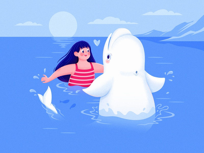 Beluga I fun play cloud sun color kid belouga whale beluga blue water ocean sea children childhood child animal girl character illustration