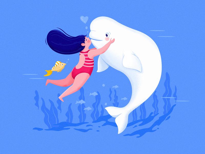 Beluga II cute uran whale ocean sea water animal blue beluga belouga beauty play kid color children childhood child girl character illustration
