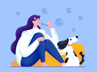 Introspection doggy pet blue game play rest think introspection role person human people woman bubble dog animal girl character illustration