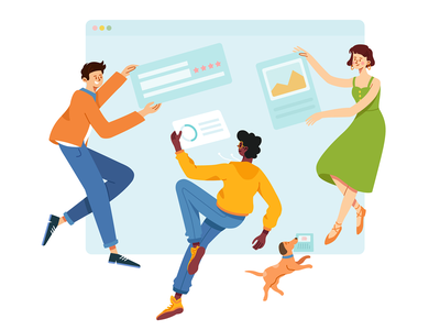 Collaborative Group I workflow dog office business work group collaboration collaborate collab friends mate parter woman man boy animal girl character illustration