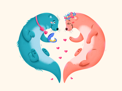Marriage heart otter wedding marry marriage love animal character illustration