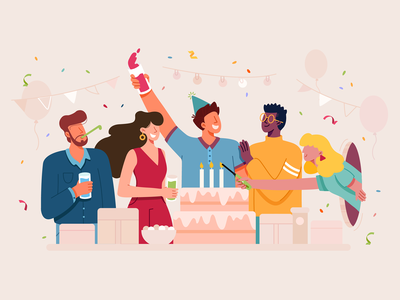 Party lady group cake drink festival birthday friend friends celebration celebrate happy party woman man boy girl character illustration