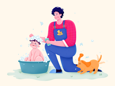 Parenting Advice daughter son parent family dad father child kid baby shower bath wash pet dog animal man boy girl character illustration