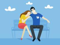 Loving couple - vector flat style illustration for stocks.