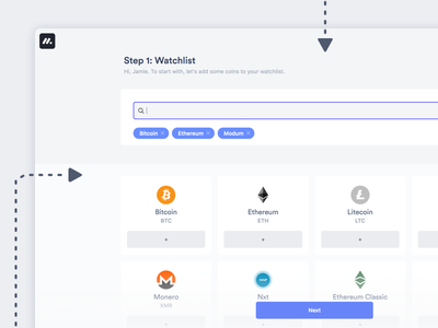 Designing Signup flows dashboard design dashboard app dashboard ui steps signup page signup screen menu design select onboarding onboarding screens onboarding ui bitcoin cryptocurrency crypto interface ux ui flow sign up watchlist