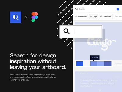 Design Inspo - Figma Plugin figma plugin inspirations logo ui dark ui list search results search bar palettes color palette color swatches search inspiration plugin figma