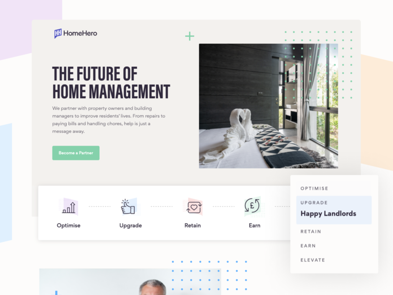HomeHero Partners Landing Page real estate agent agents proptech property real estate landlord hero image hero section landing page concept homehero landing page design branding ui homepage landing page ui landing page