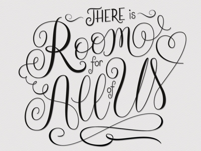 Room For All of Us typography design handwritten lettering challenge typography flourishes room lettering design drawing letters hand-drawn lettering script lettering type script handlettering