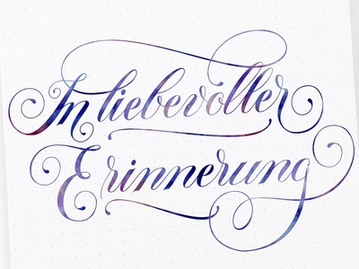 In lovely memory: handlettering (condolence card)