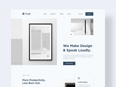 Craft landing page professional nice 2020 trendy stylish design agency cool colors best dribble shoot web design craft home page branding clean ui clean website web ux ui minimal landing page