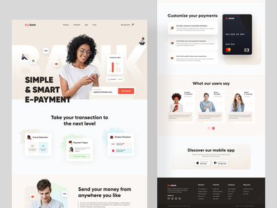 Big Bank - Web Design fintech payment banking website bank financial visa card master card banking finance big bank web design home page clean ui clean website web ux ui minimal landing page