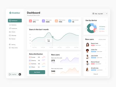 Grabstar admin dashboard - A review platform ux ui trendy clean design minimalism admin admin dashboard admin panel remote work freelancer grabstar dashboard rating review platform