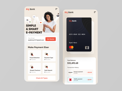 Big Bank - Mobile Version money responsive card payment banking finance fintech mobile ui mobile design big bank clean ui design creative web design website web minimal landing page ux ui