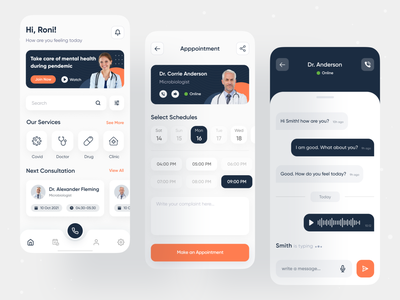Medical Consultation App appointment syed roni creative health industry medical industry consultation consulting doctor medi care medical mobile app app mobile hospital health covid clean ui minimal ux ui