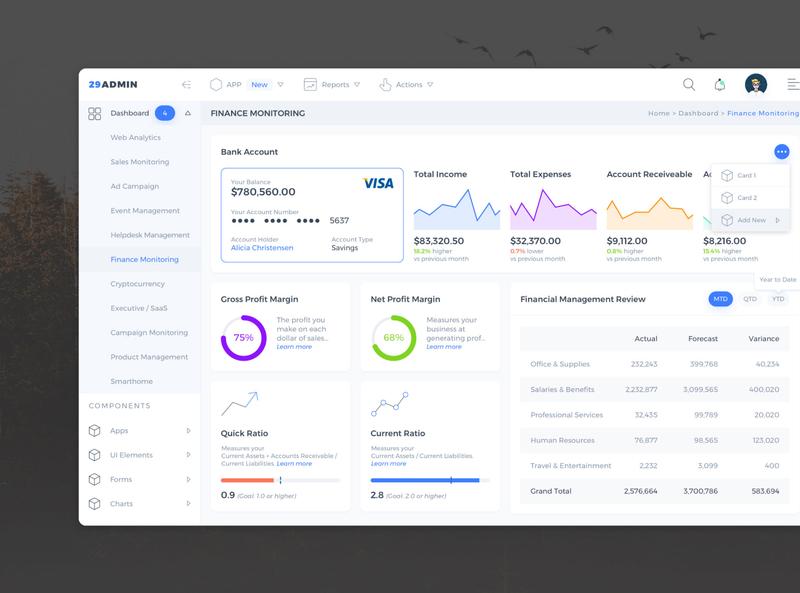 29Admin Template web design website app chart admin web sketch ui ux design finance dashboard template dashboard