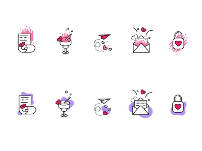 Valentines Icons love sketch set stickers vector modern linear heart valentine free freebie icons