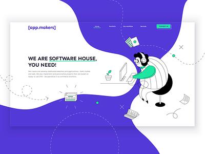 Software House Illustration modern company software house desktop drawing violet landing page illustration linear website web design ux ui