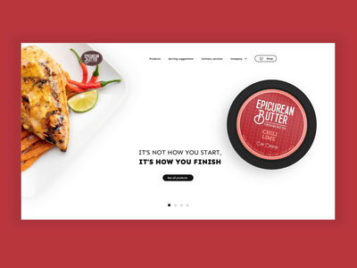 Epicurean Butter Hero Animation culinary meal food butter animation clean ux ui hero landing page desktop design