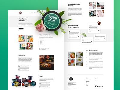 Epicurean Butter Culinary Services webdesign website food butter green leaves leaf clean ux ui hero culinary desktop design