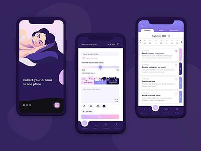 Dreaming App notes woman sleep sleeping girl animation dreams ux ui dreaming screens mobile design