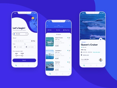 Yacht Renting App water search find book buy rent sail motorboat yacht boat ux ui app screens mobile design